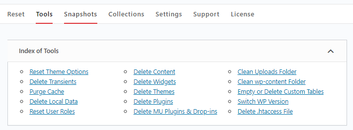 WP Reset different reset options
