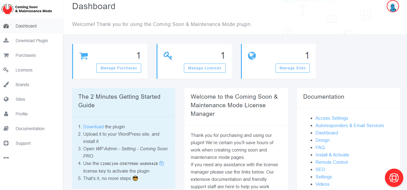 Coming soon and maintenance mode dashboard