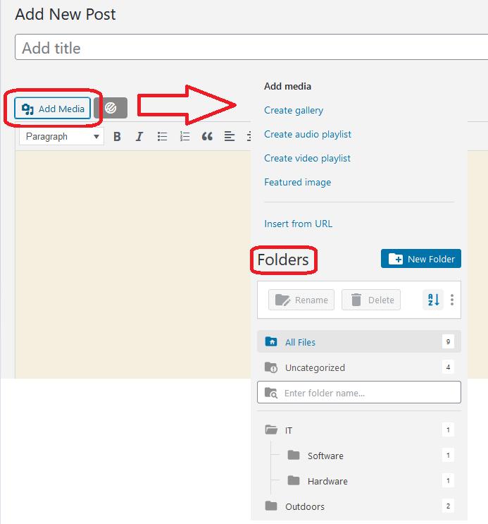 Folders in add media option