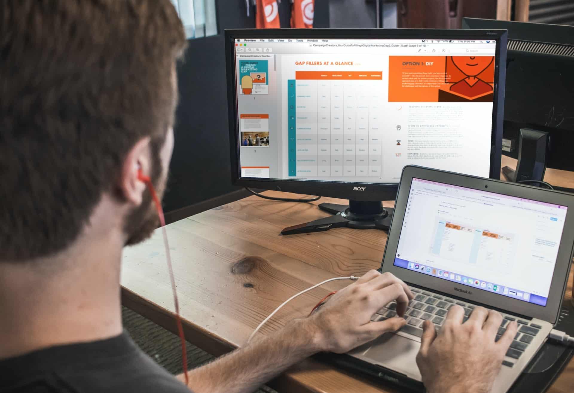 Man designing education website