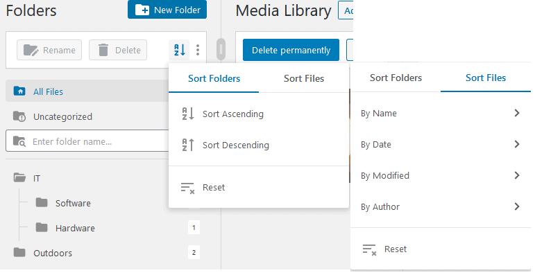 Sorting folders FileBird
