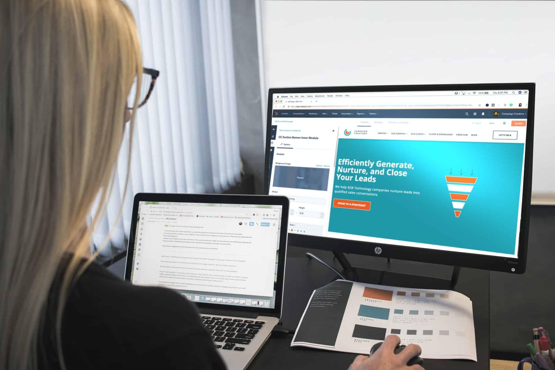 Woman creating web design