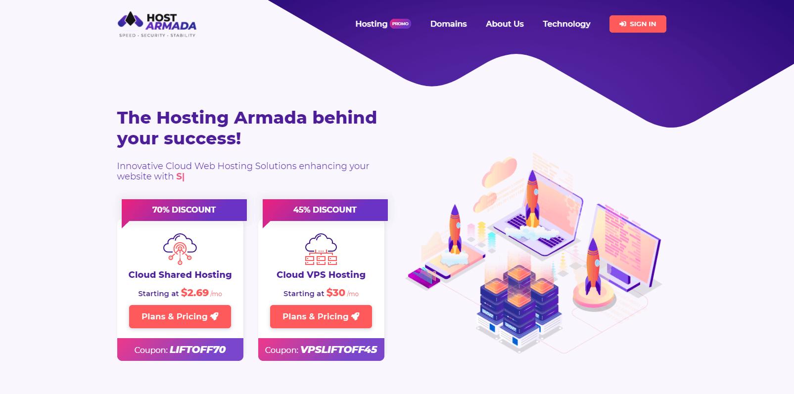 HostArmada landing page