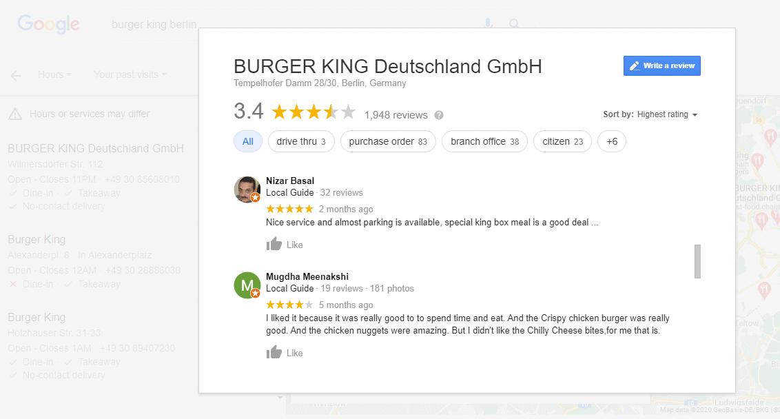 Burger King reviews