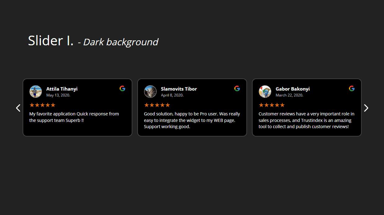 Review widgets dark background