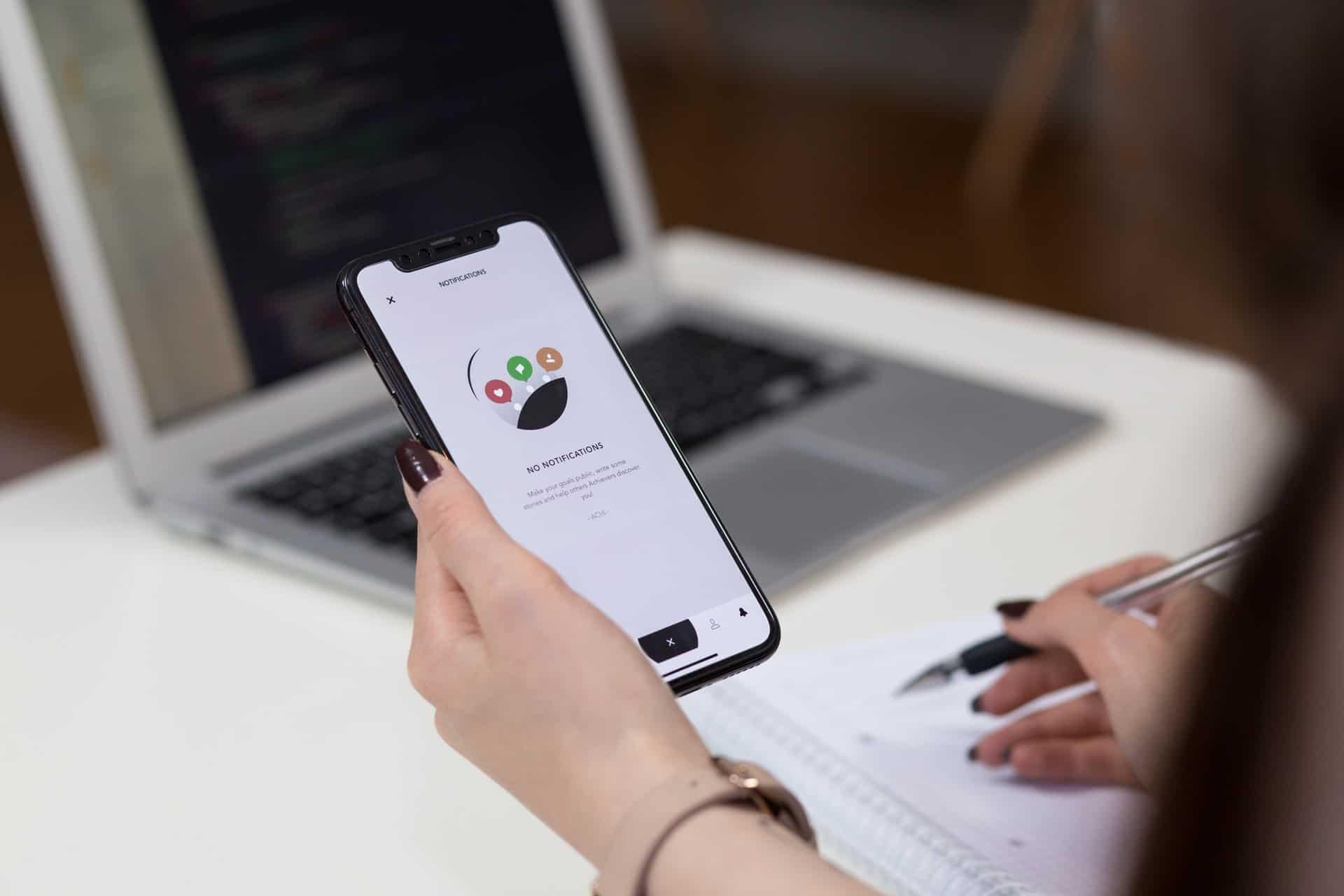 Woman testing mobile app