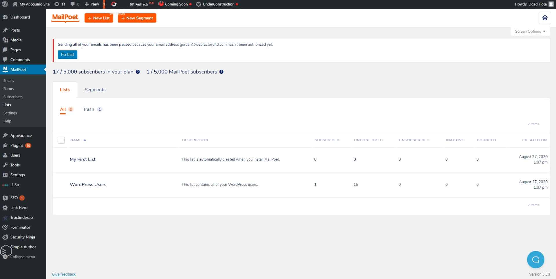 MailPoet custom subscriber list