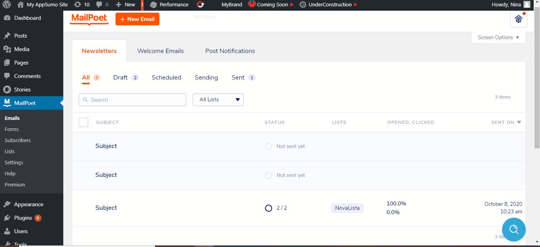 MailPoet dashboard