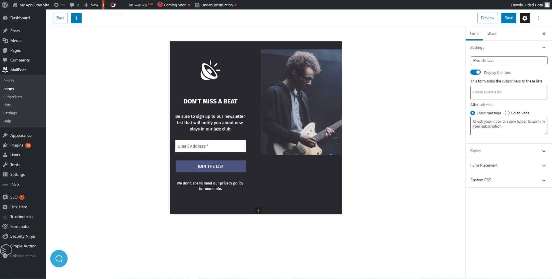 MailPoet form designer