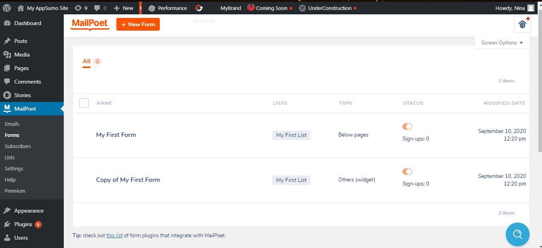 MailPoet forms