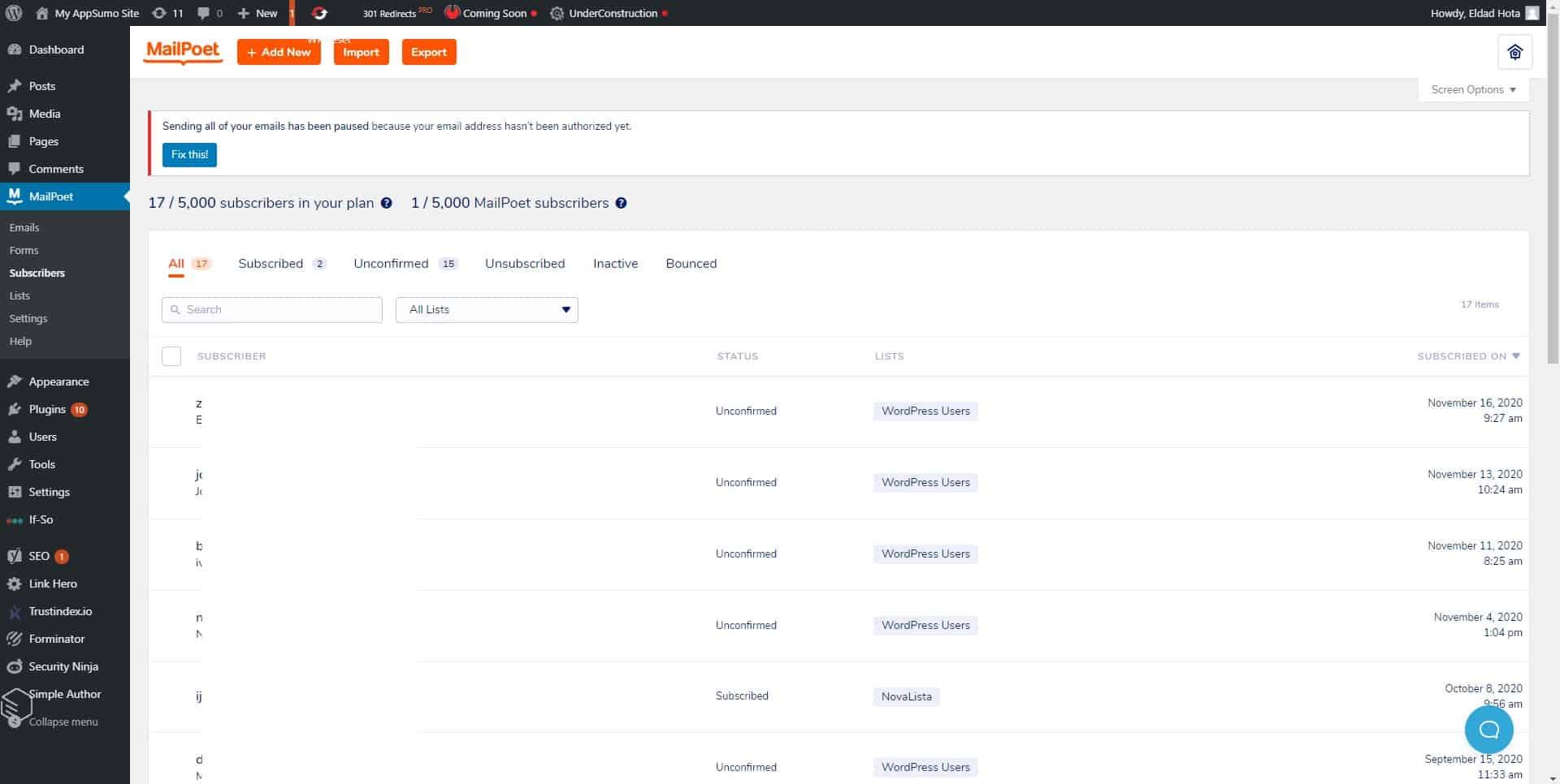 MailPoet subscriber list