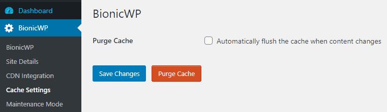 BionicWP purge cache option
