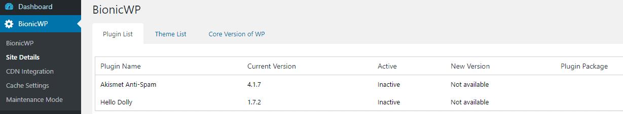 BionicWP WP tab