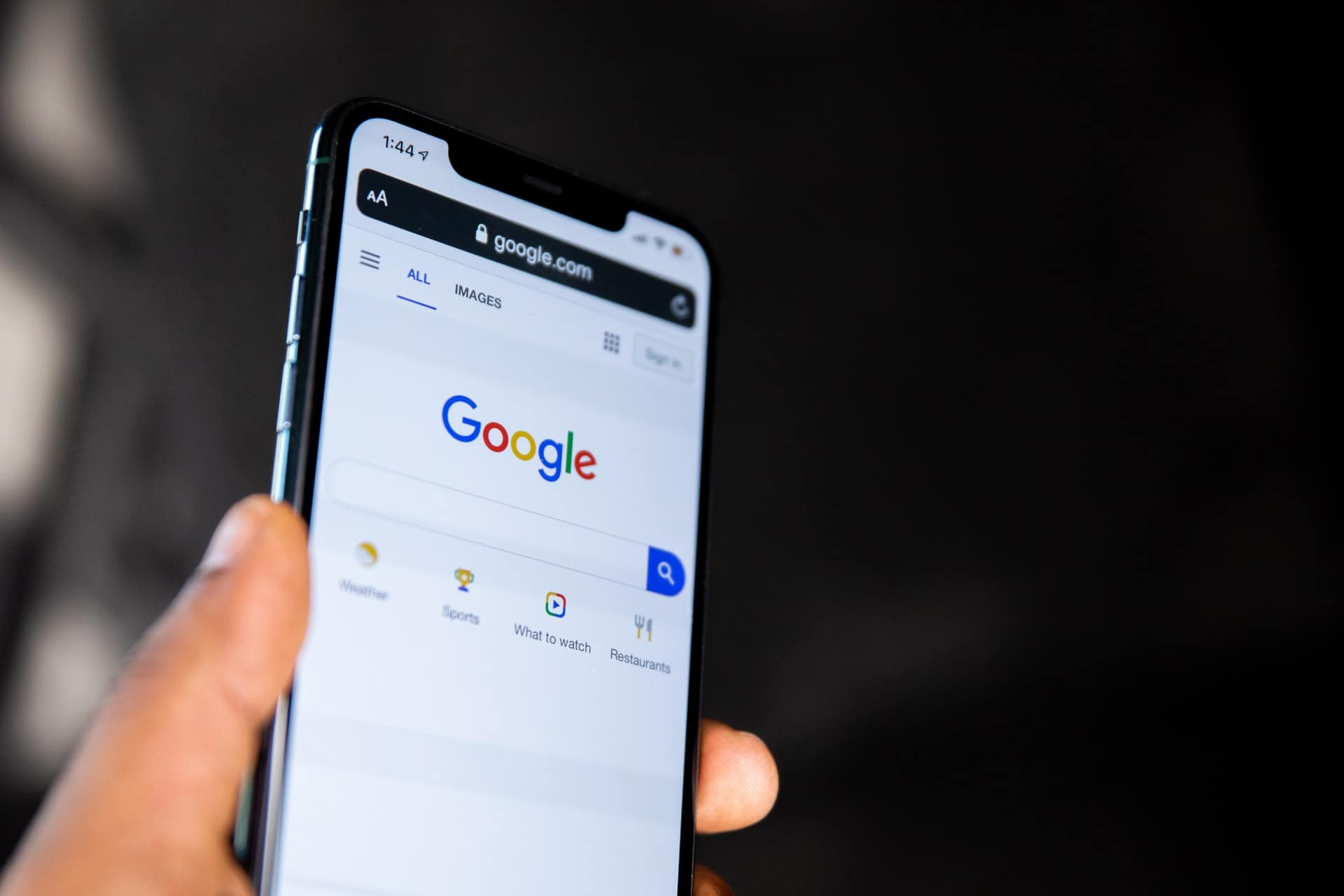 Google search page on phone