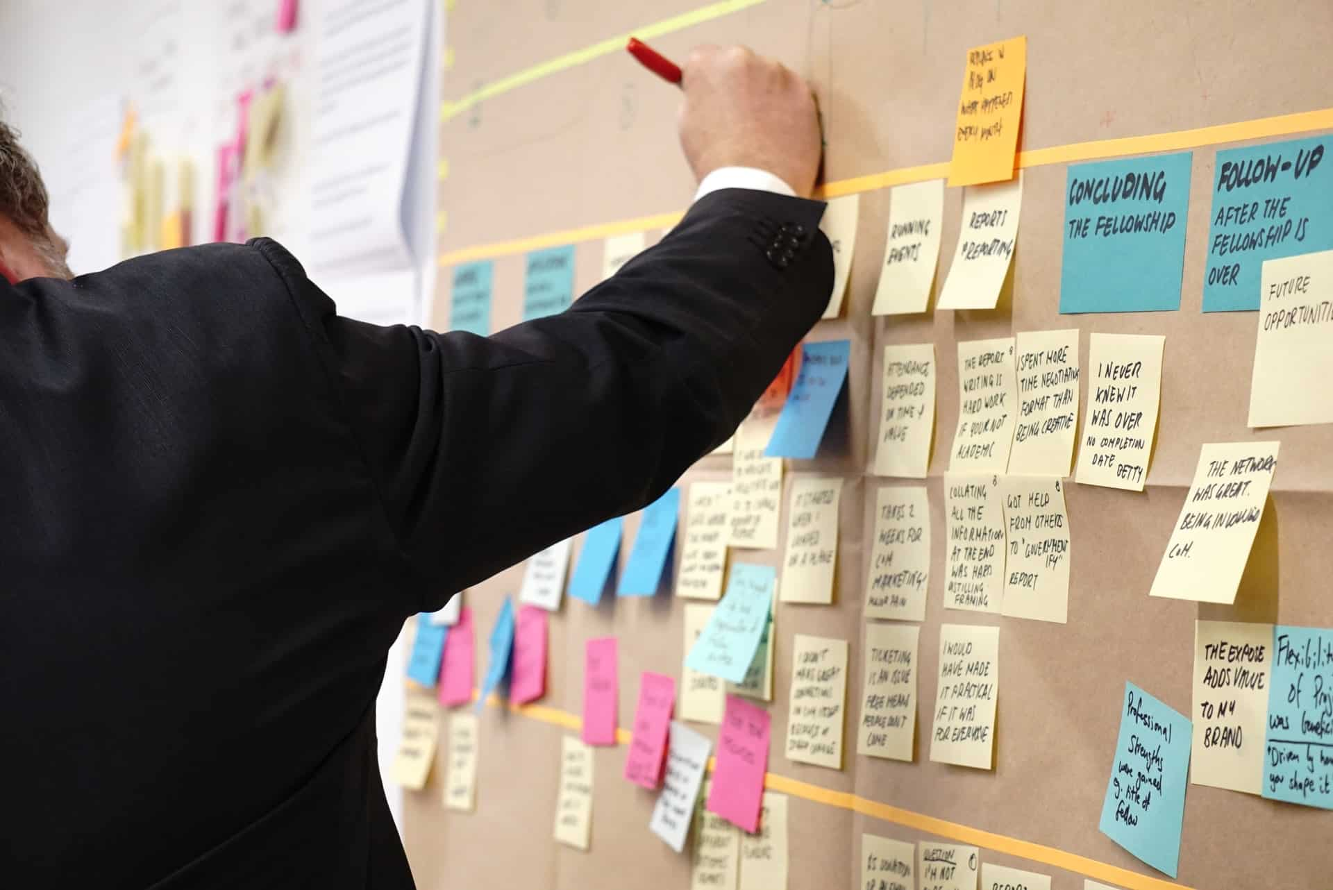 Man drawing on board with sticky notes