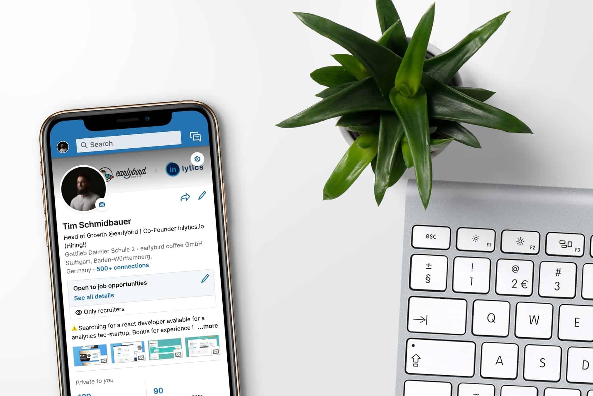 Phone showing LinkedIn profile