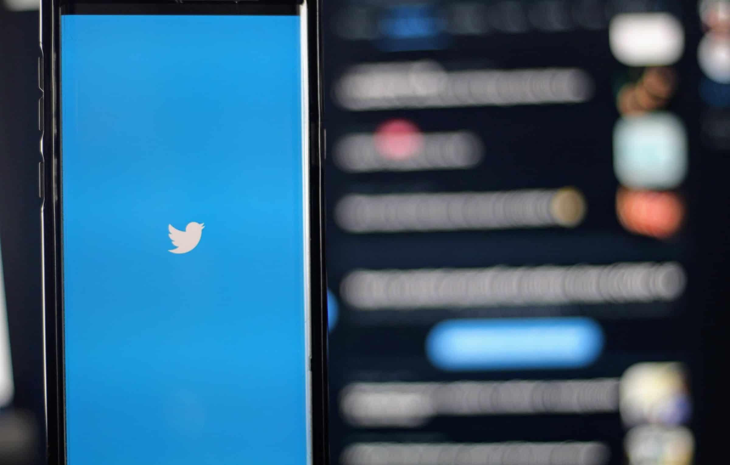 Phone showing Twitter logo