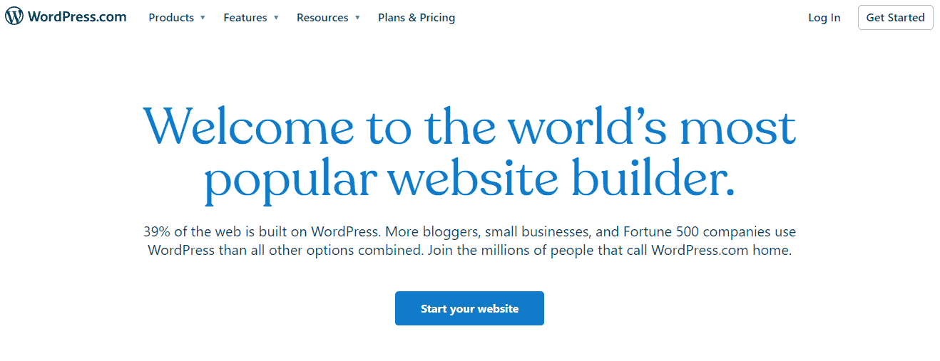 WordPress.com landing page
