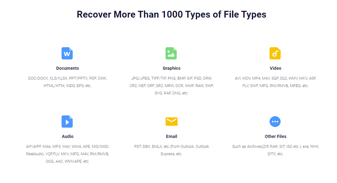 EaseUS Data Recovery file types