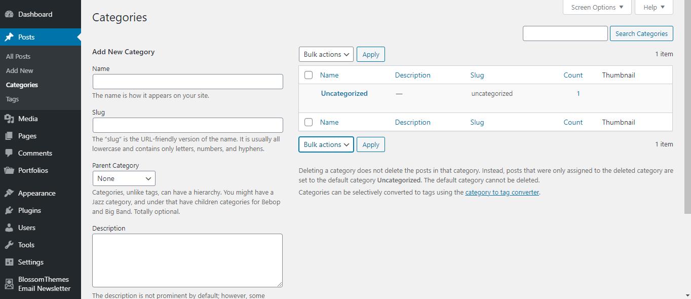 WordPress categories tab