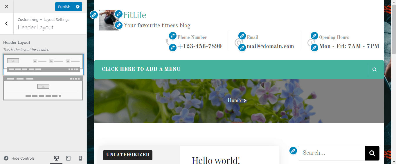 WordPress customizing header layout option