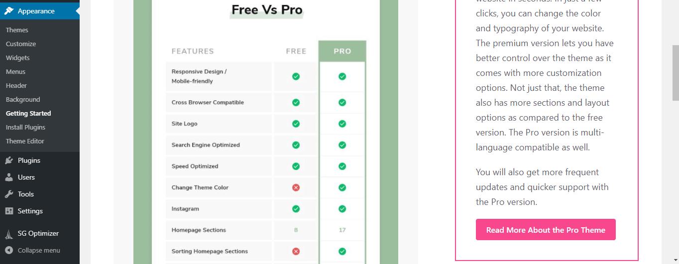 Yoga Fitness theme Free vs Pro tab