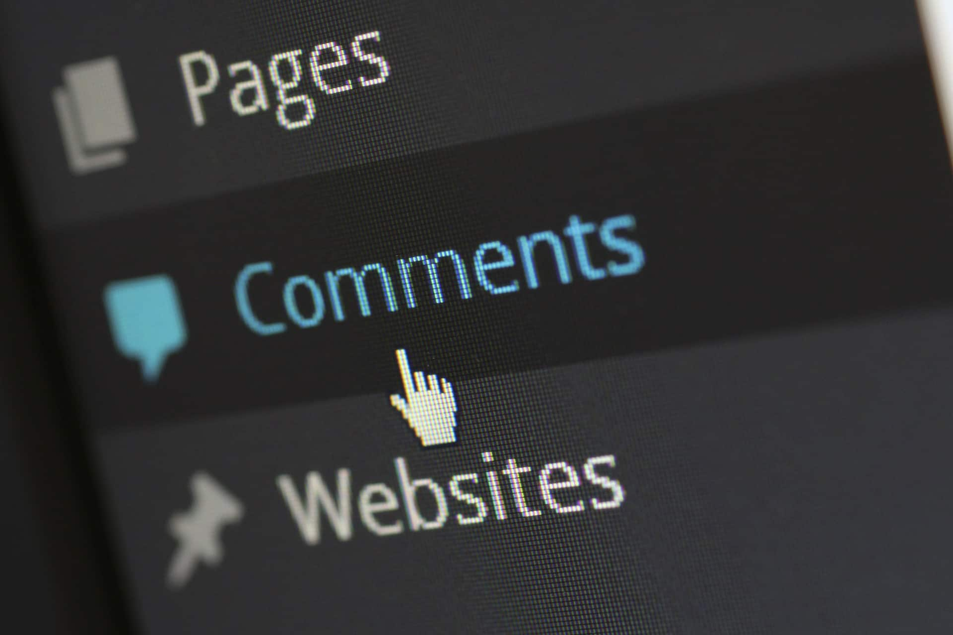 Comments tab in WordPress