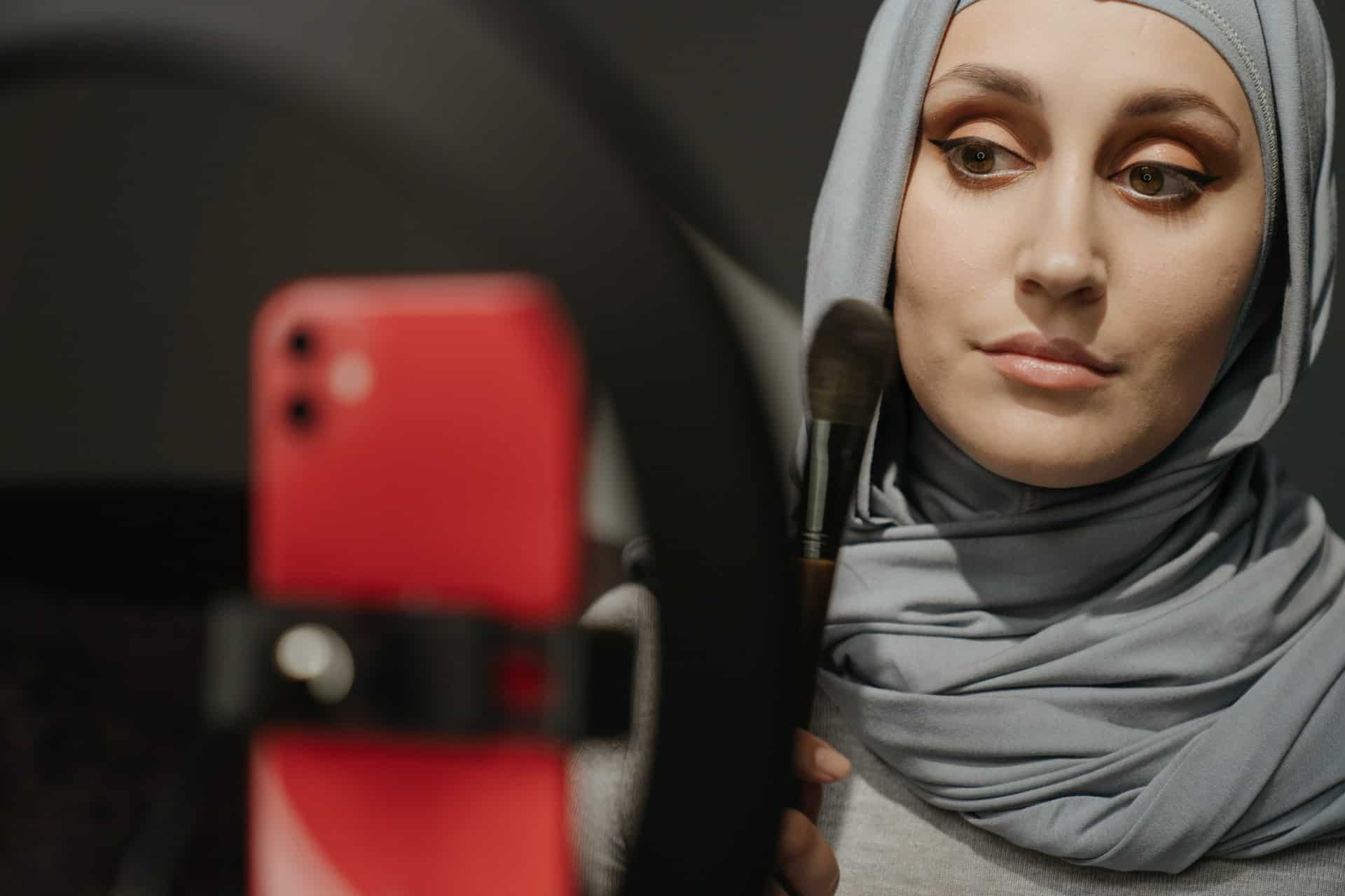 Woman filming tutorial