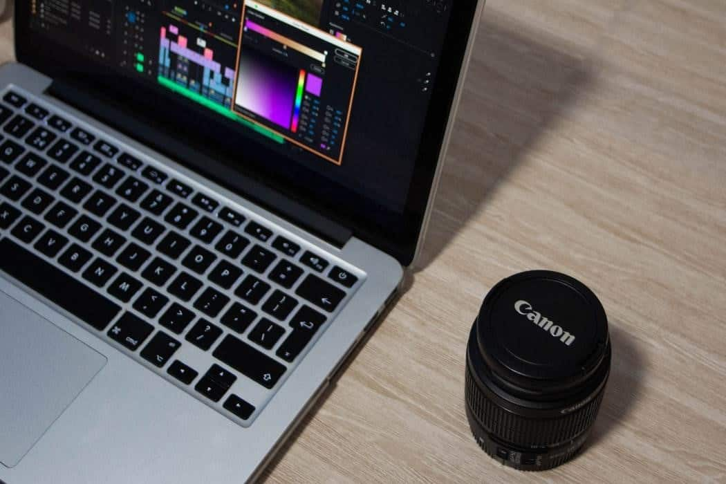Laptop and camera lens