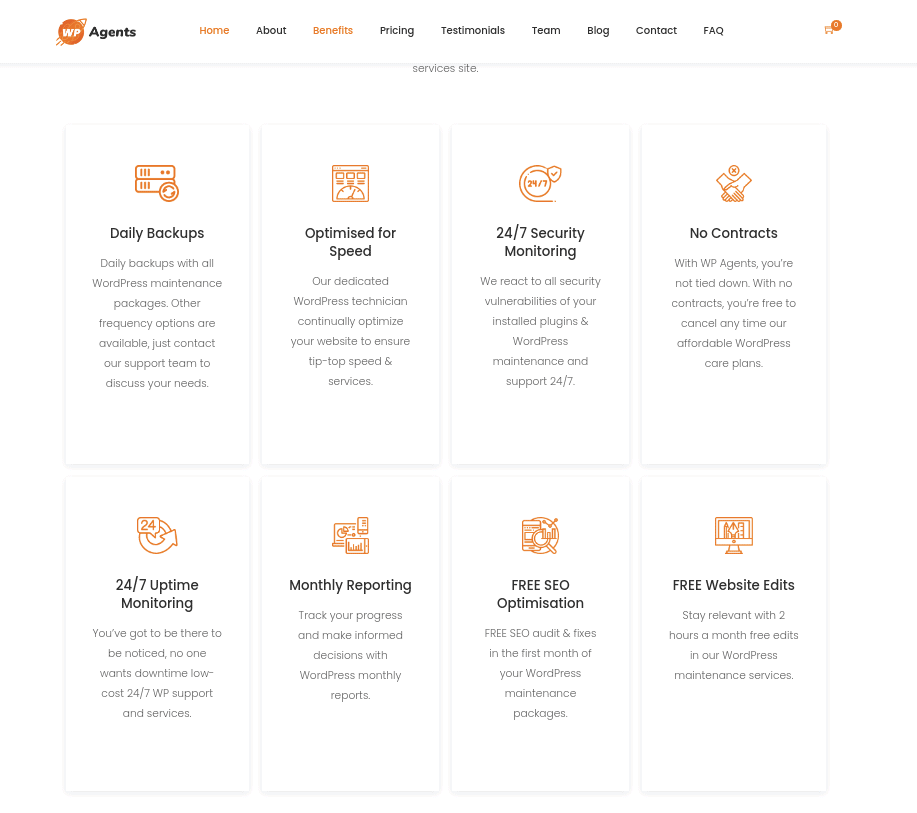 WP Agents benefits page