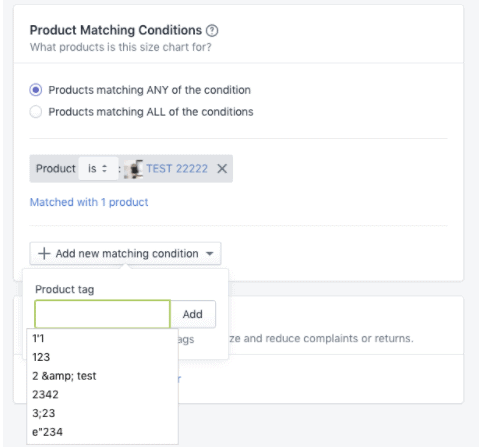 Product matching conditions